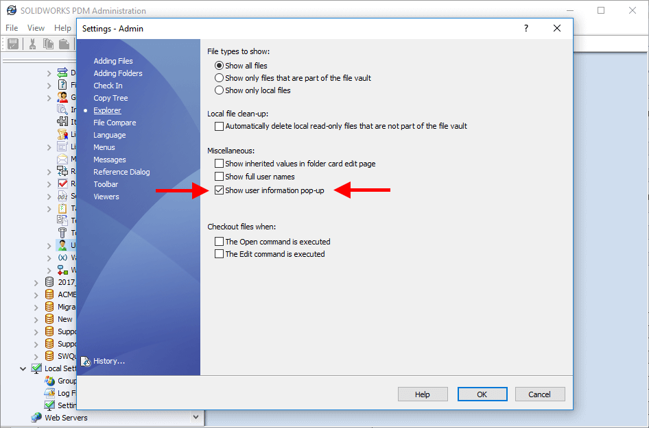 SOLIDWORKS PDM Disable User Information Pop-up