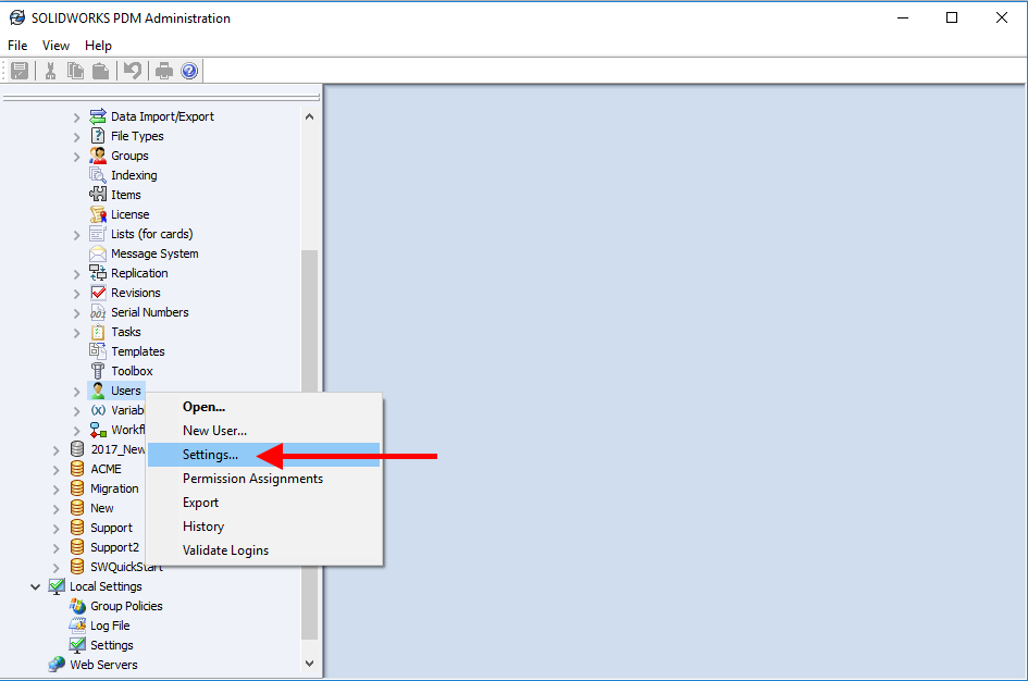 SOLIDWORKS PDM User Settings