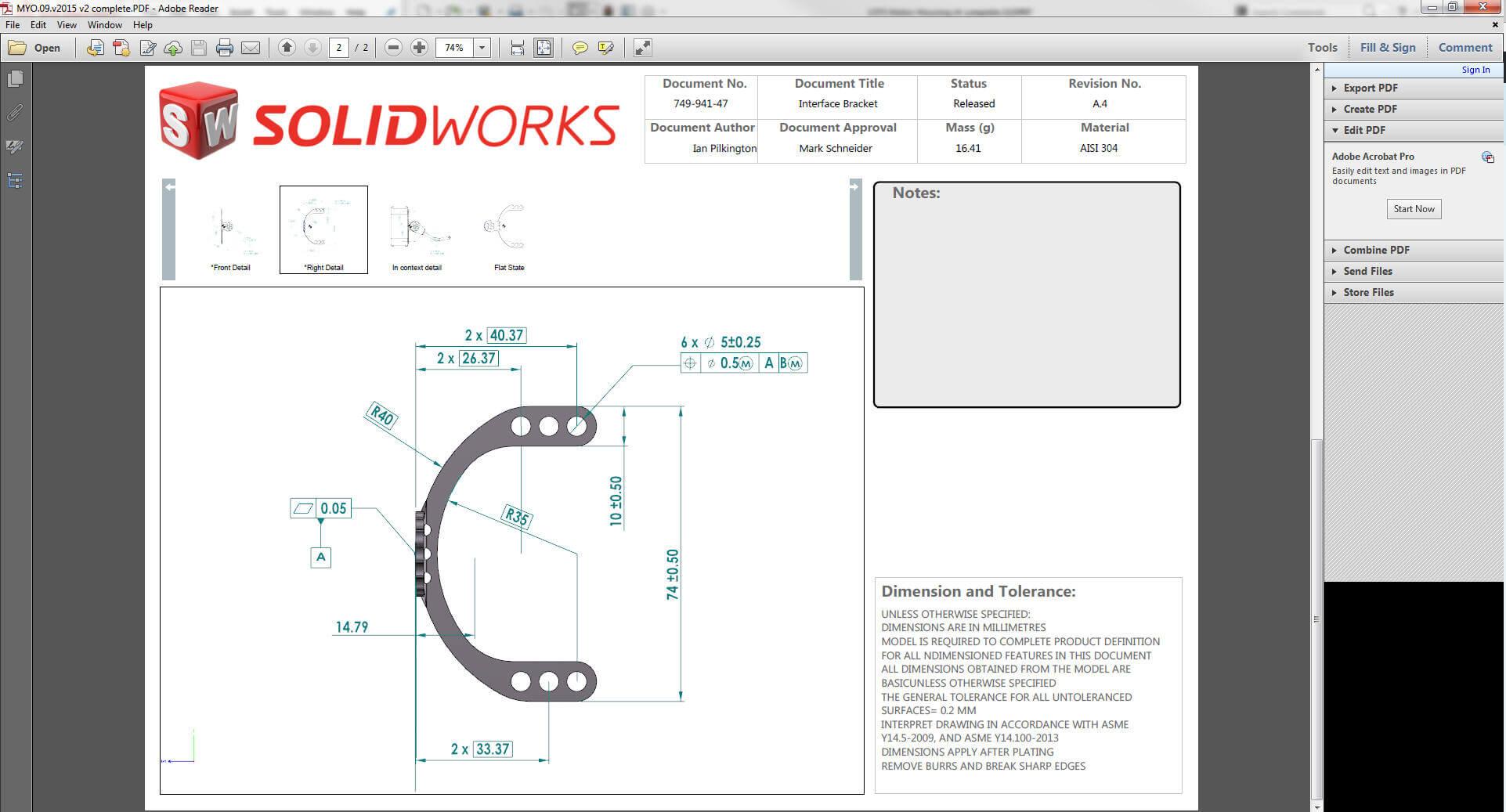SOLIDWORKS MDB PDF Output