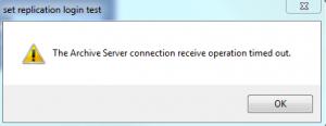 Archive Server connection Error Message