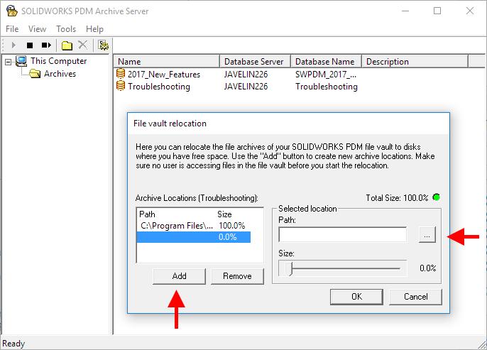 Add new Archive Location