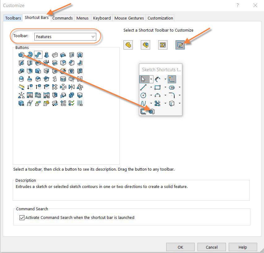 Customize Shortcut Bar in Sketch Environment