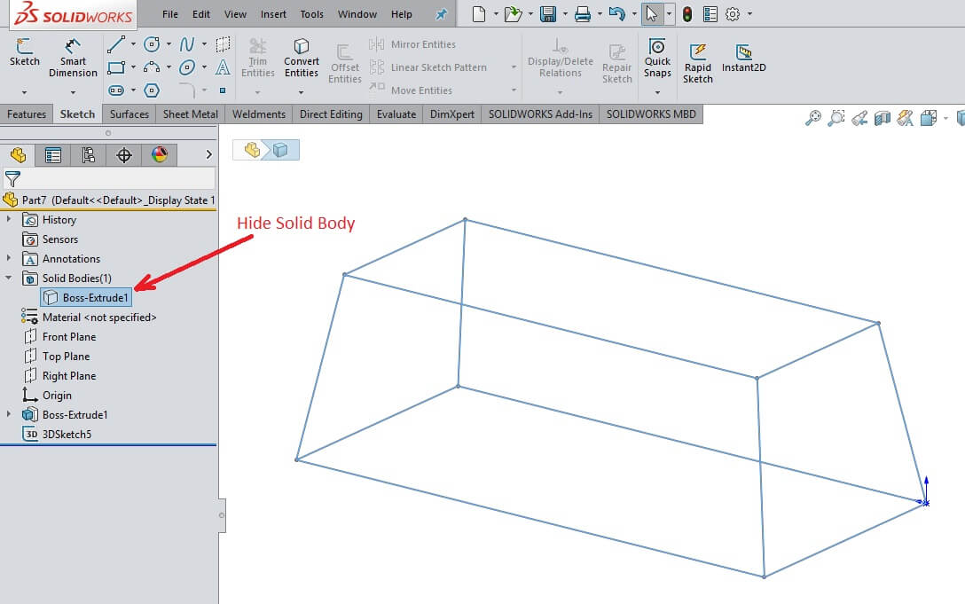SOLIDWORKS Weldment Sketch created
