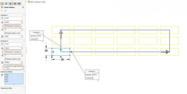 Linear Sketch Pattern - Add Dimensions