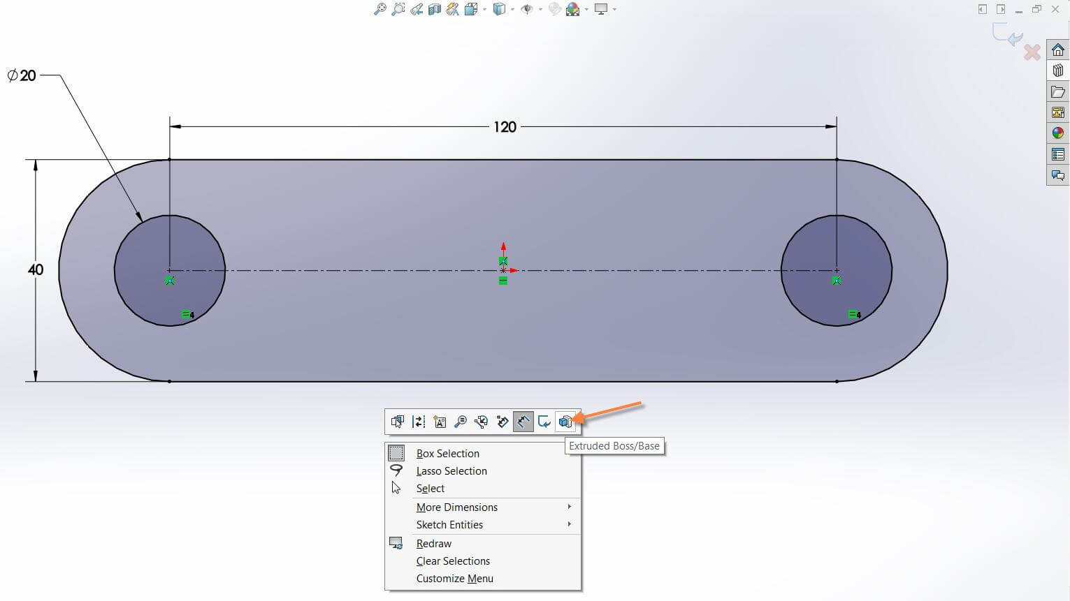 Solidworks Extrude From Context Toolbar Within The Sketch