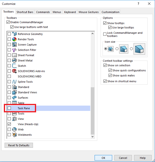 My Solidworks Task Pane Is Missing Learn How To Get It Back