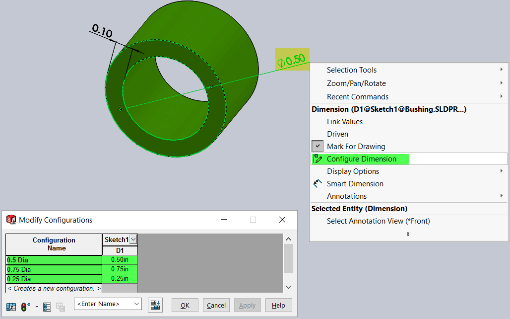 SOLIDWORKS smart components Configure Dimension
