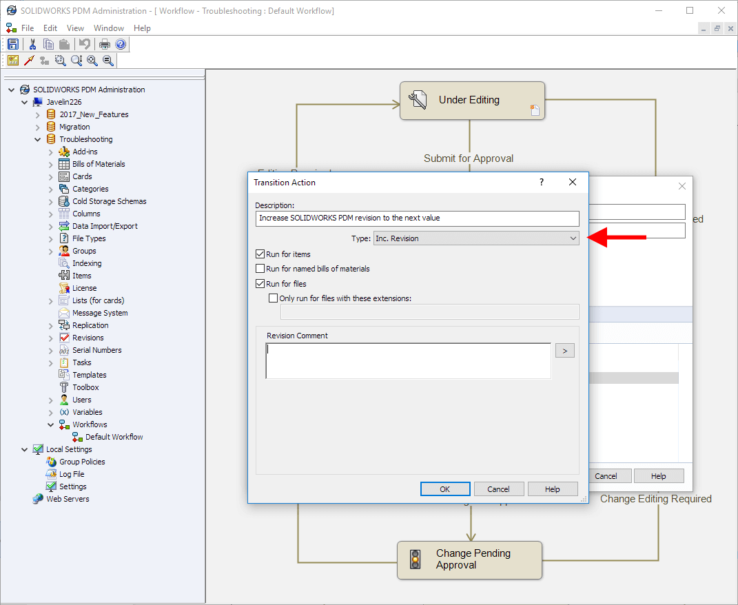 How to increment a SOLIDWORKS PDM Revision Automatically in a Workflow