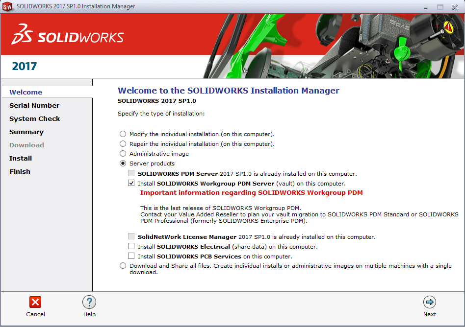 Welcome screen for SOLIDWORKS Installation Manager