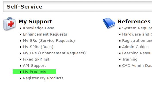SOLIDWORKS Customer Portal options