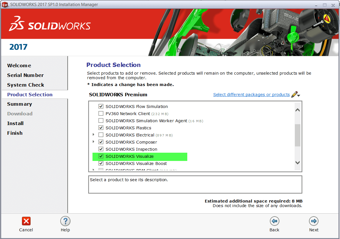 SOLIDWORKS Installation Manager Product Selection
