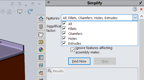 SOLIDWORKS Simplify Tool