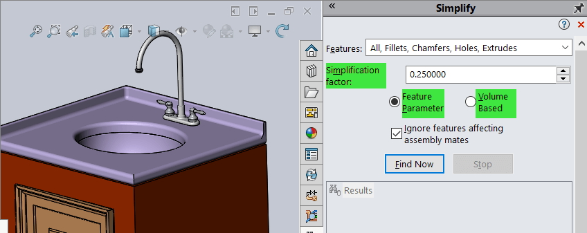SOLIDWORKS Simplify Tooltips