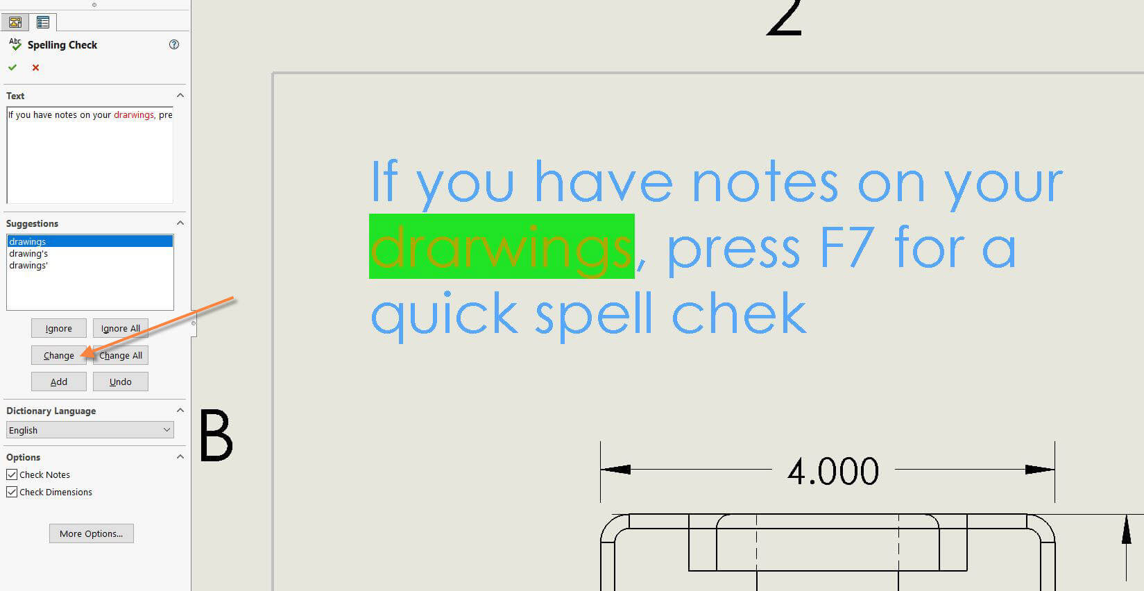 SOLIDWORKS Spelling Check