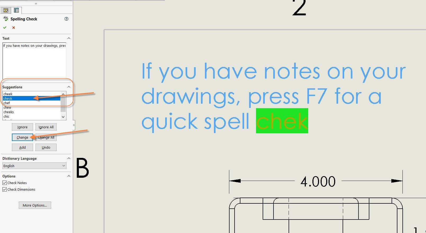 SOLIDWORKS Spell Check