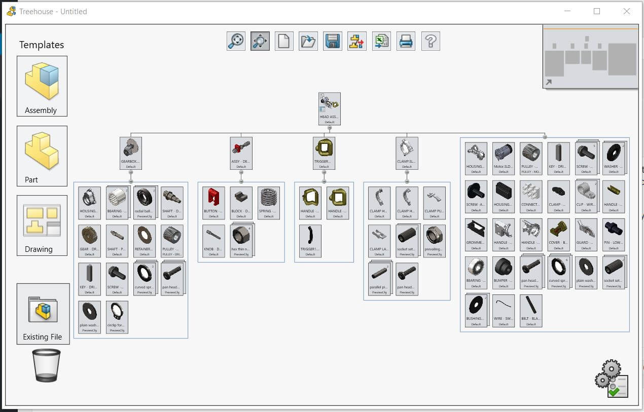 use the shift key to collapse  expand all descendant components in solidworks treehouse
