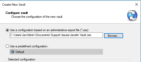 Use a configuration based admin export file