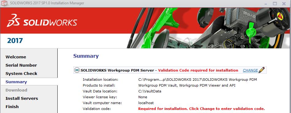 SOLIDWORKS Workgroup PDM Server validation code
