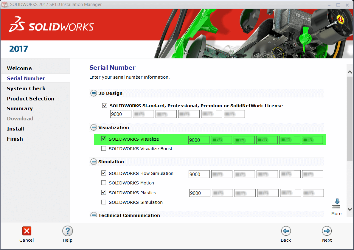 SOLIDWORKS Visualize in the Installation Manager