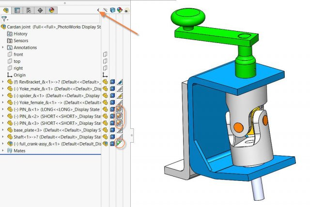 SOLIDWORKS Assembly Appearance Overrides shown in Display Pane