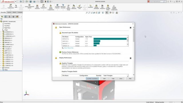 SOLIDWORKS 2018 New Assembly Performance dialog