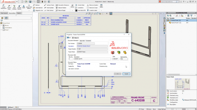 SOLIDWORKS PDM bi-directional communication with drawing revision table
