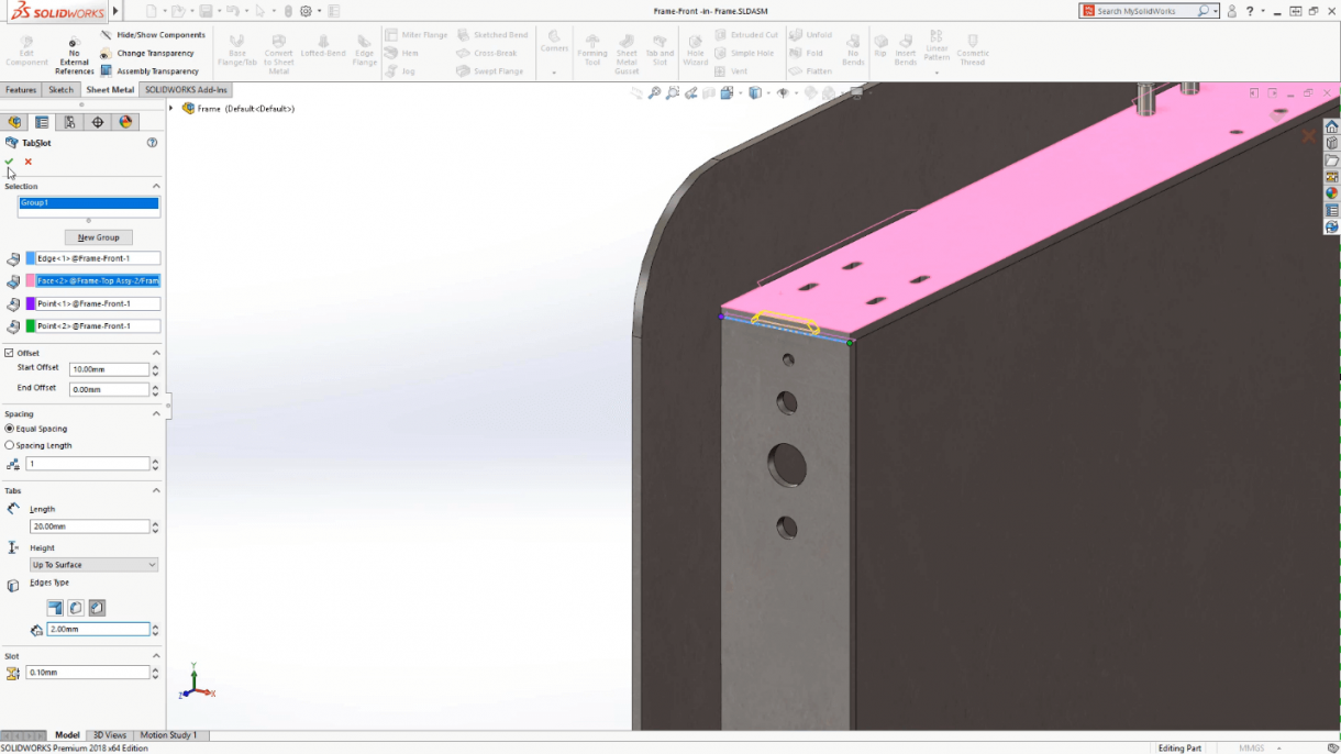 Solidworks 2018 Tab And Slot Feature Connects Models Together