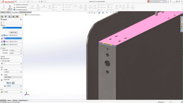 New Tab and Slot feature works in parts, multi-body parts and assemblies.
