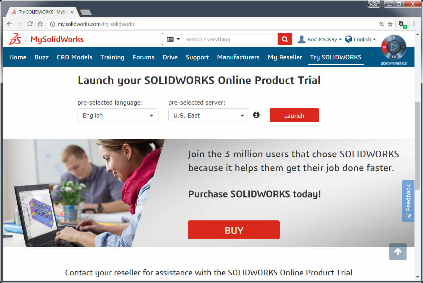 SOLIDWORKS Free Trial Launch