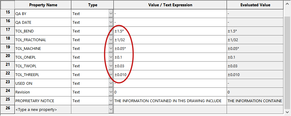 SOLIDWORKS Custom Property Symbols