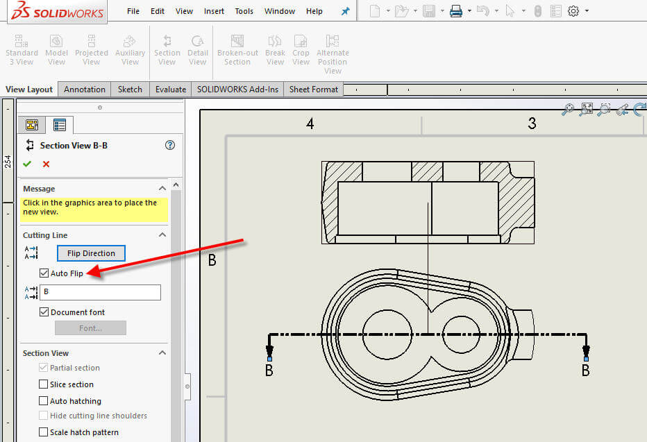 SOLIDWORKS Section View Auto Flip