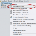 Where are the hidden settings for the display of SOLIDWORKS Cosmetic Threads?
