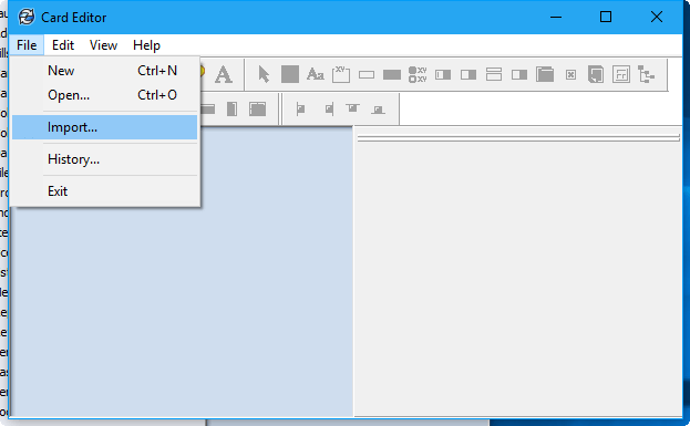 From the Card Editor select; File > Import
