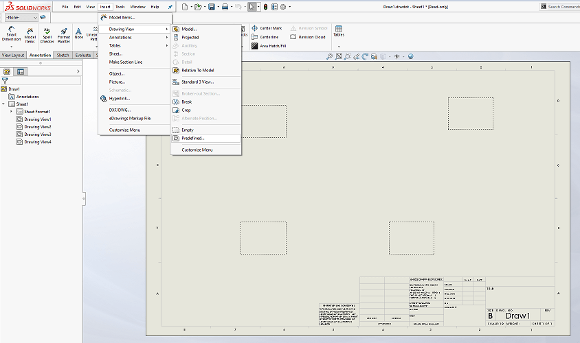 Inserting SOLIDWORKS Predefined Views
