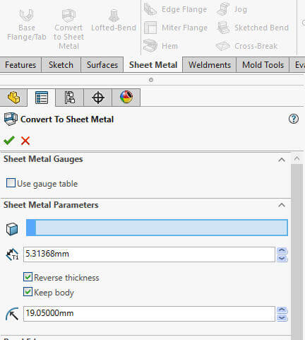 SOLIDWORKS sheet metal tools
