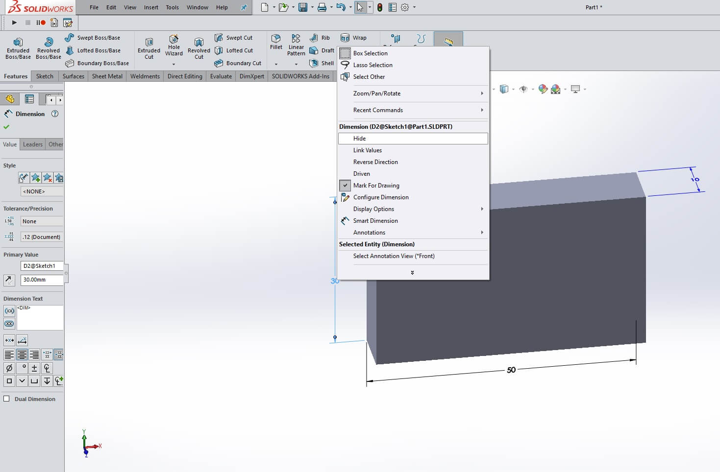 Hide SOLIDWORKS Dimension