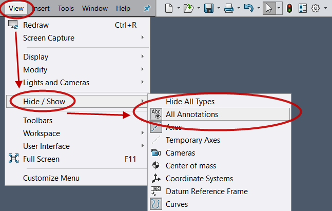 SOLIDWORKS Cosmetic Thread Display in the View Menu