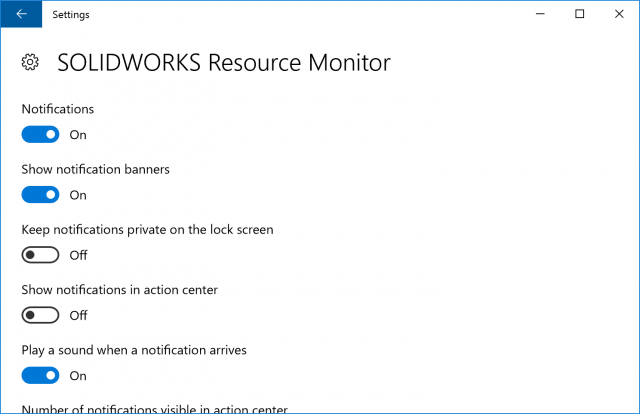 SOLIDWORKS Resource Monitor Notifications