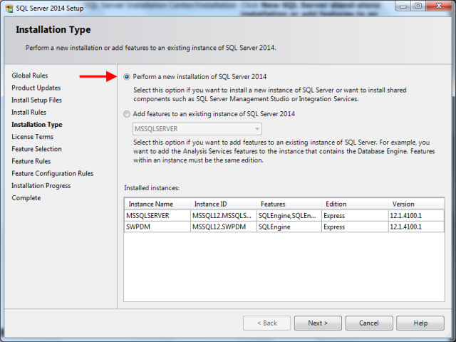 Perform a new installation of SQL Server
