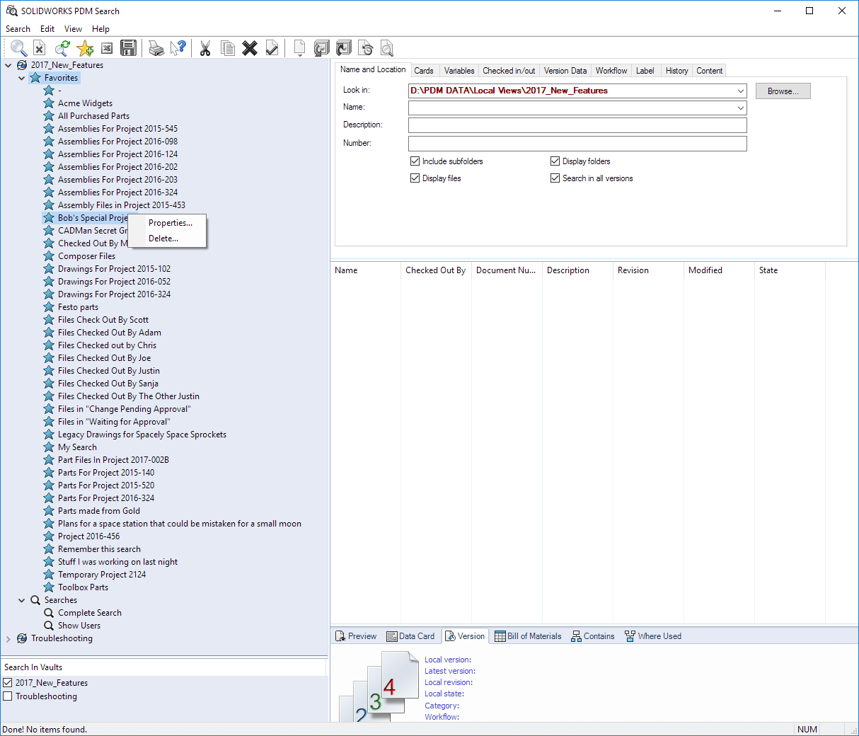 Edit or Delete SOLIDWORKS PDM Search Favorites