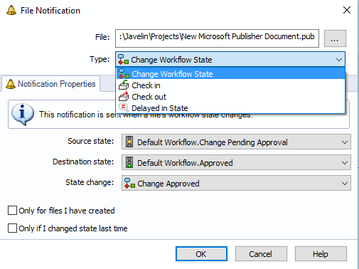 Select File Notification Type