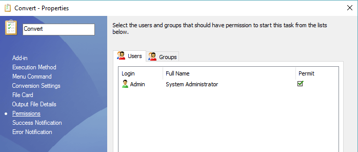 Task Users and Groups