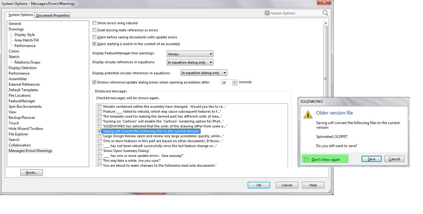 Saving File Dismissed Message