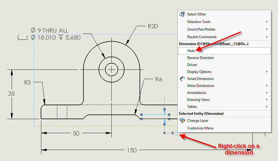 How To Hide Solidworks Drawing Dimensions And Make Them