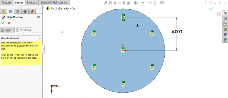 SOLIDWORKS Hole Wizard - Adds Extra Point in Center of Circular Pattern