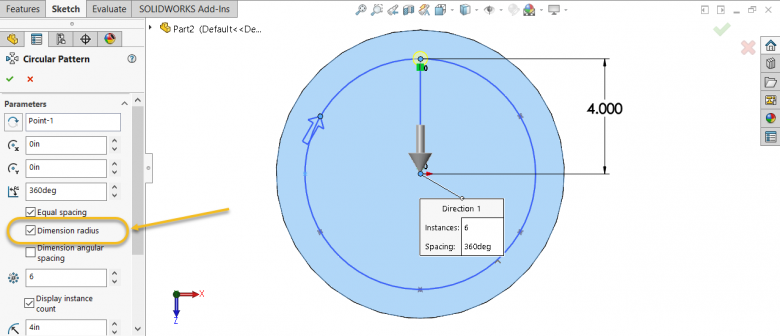 SOLIDWORKS Hole Wizard - Dimension Radius option in Circular Sketch Pattern