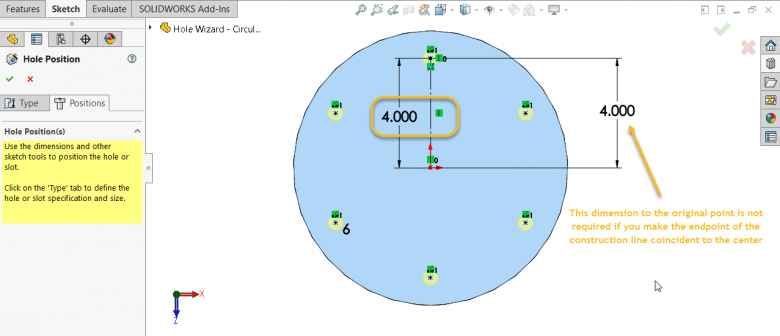 SOLIDWORKS Hole Wizard - Adds Radius Dimension and Construction Line