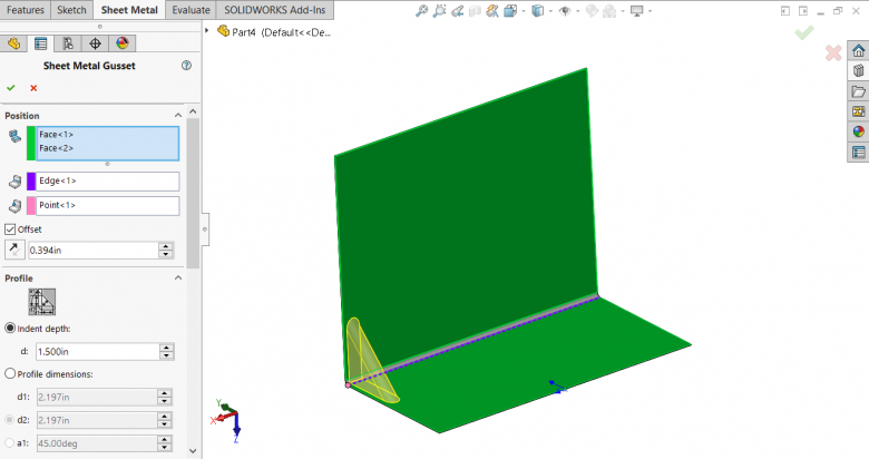 SOLIDWORKS Sheet Metal Gusset Selections