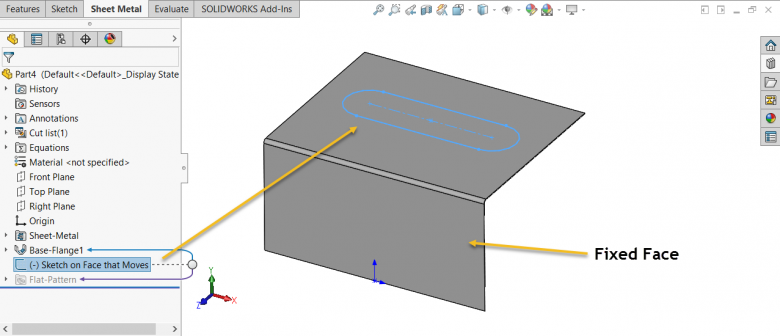 SOLIDWORKS Sheet Metal Sketch on Non-Fixed Face