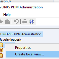 SOLIDWORKS PDM Standard Create Local Vault View